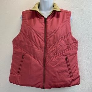 CAbi Reversible Pink & Green Quilted Puffer Vest